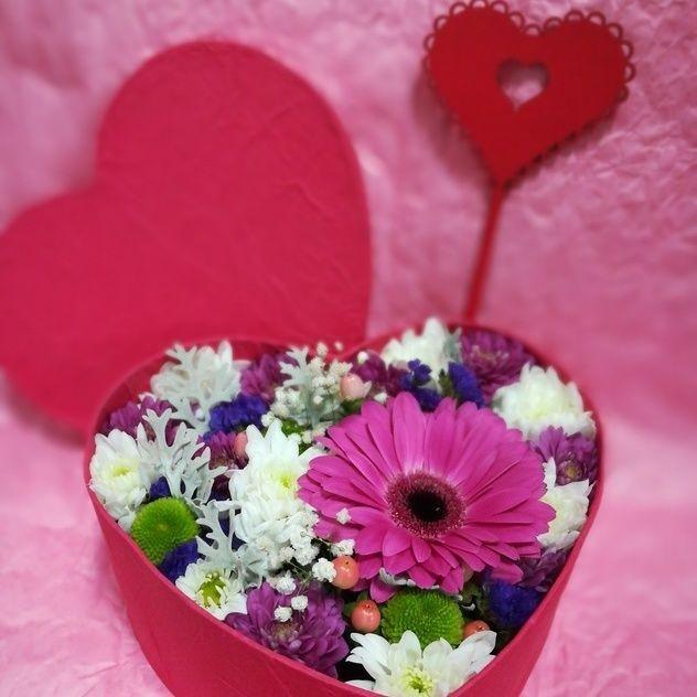 Коробочка цветочное сердце