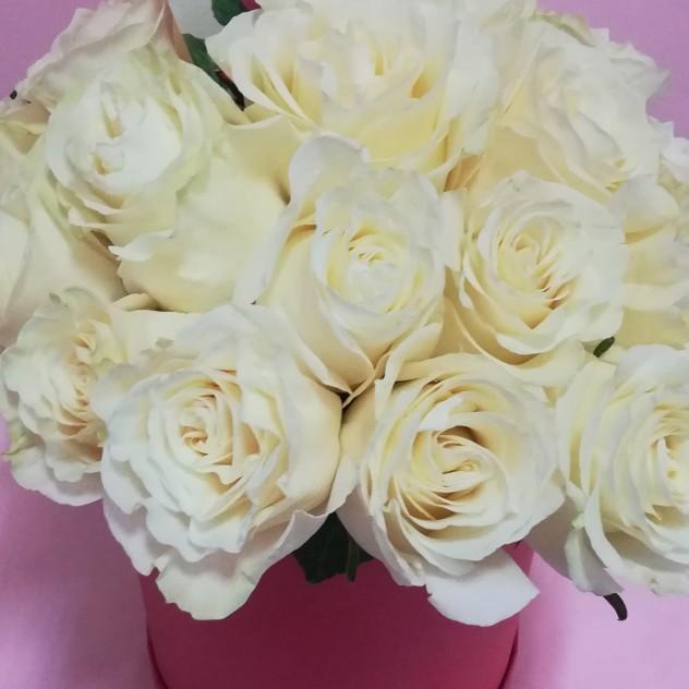 Белая роза в шляпной коробке