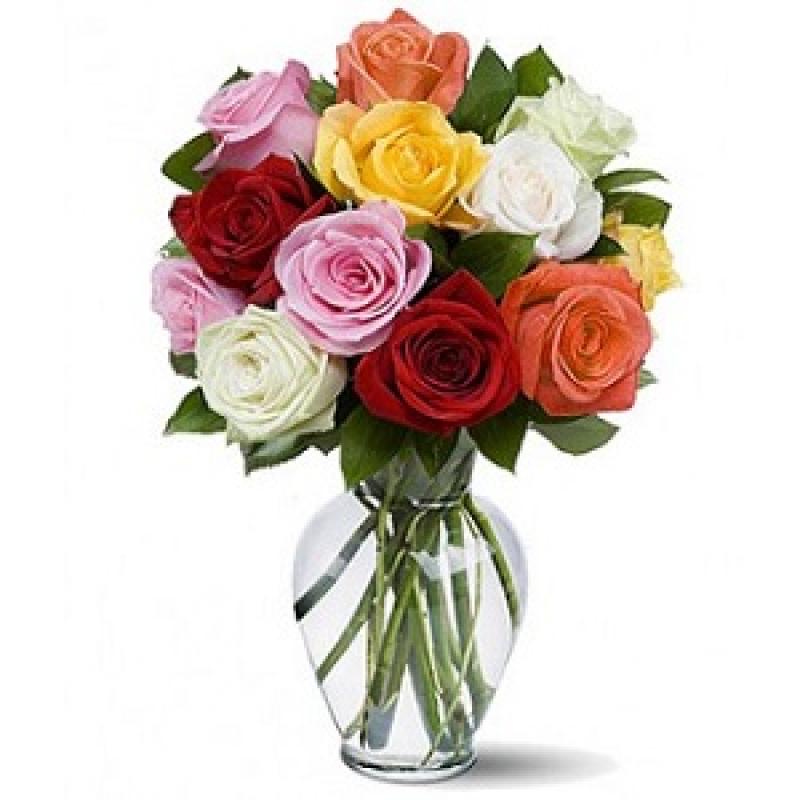 Букет из 11 разноцветных роз